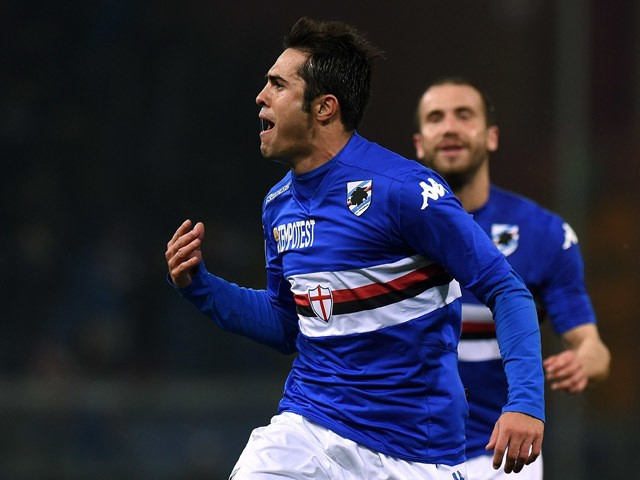 Citadin Eder of Sampdoria celebrates after scoring the opening goal during the Serie A match between UC Sampdoria and FC Internazionale Milano at Stadio Luigi Ferraris on March 22, 2015