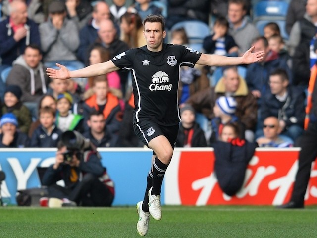 Everton's Irish defender Seamus Coleman celebrates scoring the opening goal during the English Premier League football match against Queens Park Rangers on March 22, 2015