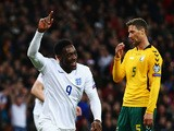 Danny Welbeck of England celebrates scoring the second goal during the EURO 2016 Qualifier match between England and Lithuania at Wembley Stadium on March 27, 2015
