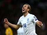 Harry Kane of England celebrates after scoring on his debut during the EURO 2016 Qualifier match between England and Lithuania at Wembley Stadium on March 27, 2015