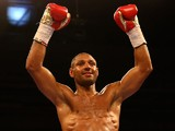 Kell Brook celebrates after beating Jo Jo Dan during their IBF World Welterweight Title Fight at the Motorpoint Arena on March 28, 2015