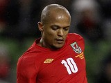 Robert Earnshaw of Wales during the Carling Nations Cup between Republic of Ireland and Wales at Aviva Stadium on February 8, 2011