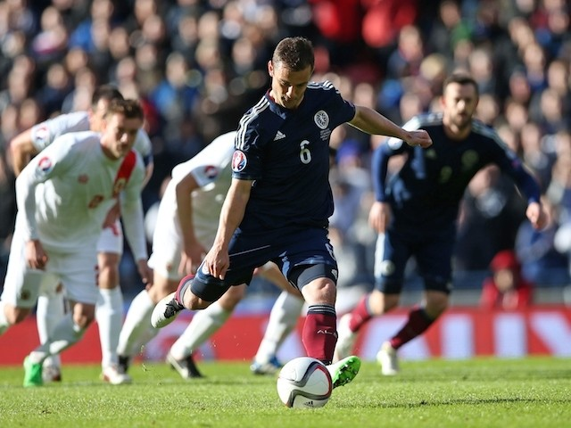 Scotland's midfielder Shaun Maloney shoots to score the opening goal from the penalty spot during the Euro 2016 qualifying football match between Scotland and Gibraltar at Hampden Park in Glasgow, Scotland on March 29, 2015