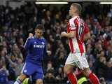 Chelseas Belgian midfielder Eden Hazard celebrates scoring the opening goal from the penalty spot during the English Premier League football match between Chelsea and Stoke City at Stamford Bridge in London on April 4, 2015