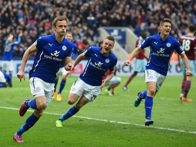 Andy King of Leicester City (L) celebrates scoring their second goal during the Barclays Premier league match Leicester City and West Ham United at The King Power Stadium on April 4, 2015