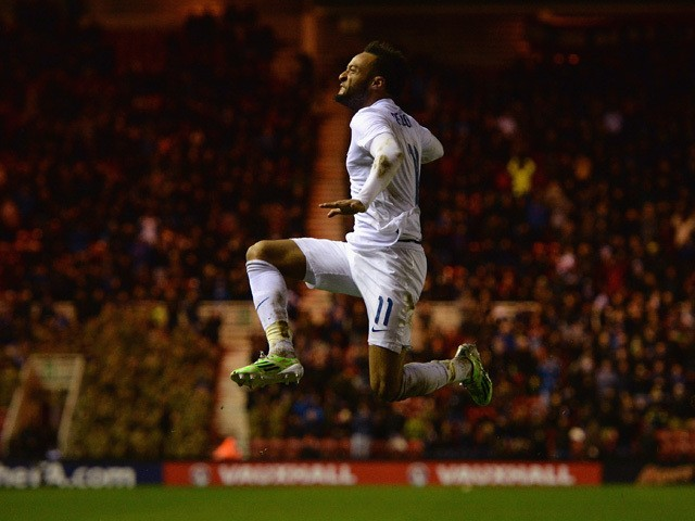 Nathan Redmond of England celebrates scoring their second goal during the international friendly between England Under 21 and Germany Under 21 at Riverside Stadium on March 30, 2015
