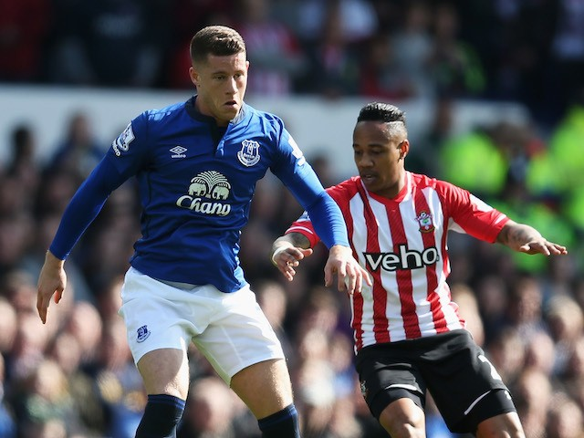 Ross Barkley of Everton is closed down by Nathaniel Clyne of Southampton during the Barclays Premier League match between Everton and Southampton at Goodison Park on April 4, 2015