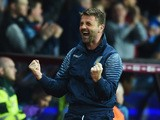 Tim Sherwood manager of Aston Villa celebrates as Christian Benteke of Aston Villa scores their second goal during the Barclays Premier