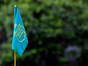 A flag is seen during a practice round prior to the start of the 2015 Masters Tournament at Augusta National Golf Club on April 6, 2015