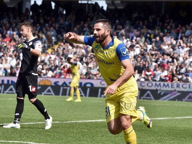 Sergio Pellissier #31 of AC Chievo Verona celebrates after scoring the opening goal during the Serie A match between AC Cesena and AC Chievo Verona at Dino Manuzzi Stadium on April 12, 2015