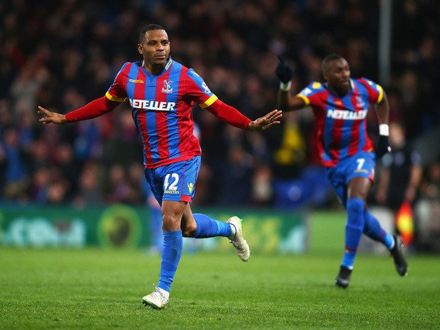 Jason Puncheon of Crystal Palace celebrates scoring his team's second goal during the Barclays Premier League match between Crystal Palace and Manchester City at Selhurst Park on April 6, 2015