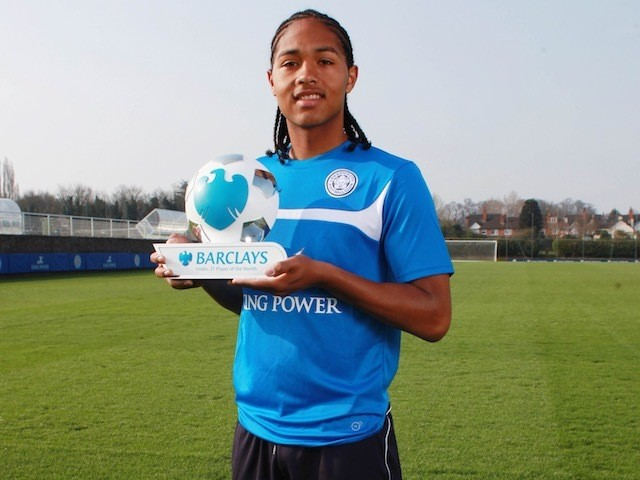 Leicester City's Harrison Panayiotou with his Player of the Month award for March 2015