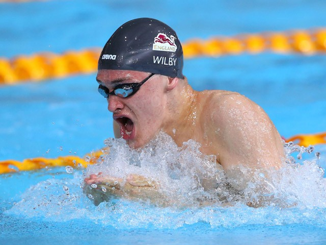 James Wilby of England competes in the Men's 50m Breaststroke Heat 4 at Tollcross International Swimming Centre during day four of the Glasgow 2014 Commonwealth Games on July 27, 2014