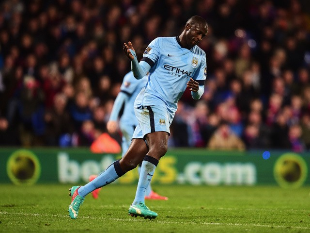 Yaya Toure of Manchester City celebrates his goal during the Barclays Premier League match between Crystal Palace and Manchester City at Selhurst Park on April 6, 2015