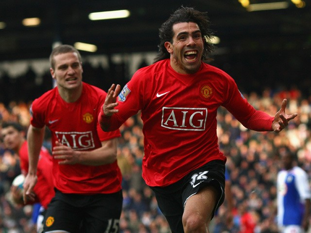 Carlos Tevez of Manchester United celebrates scoring an equalising goal during the Barclays Premier League match between Blackburn Rovers and Manchester United at Ewood Park on April 19, 2008