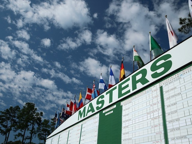 A view of the Par 3 scoreboard during the 2015 Masters at Augusta National on April 8, 2015
