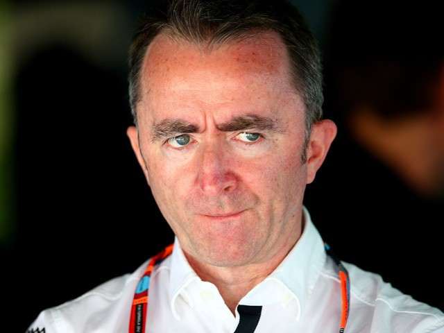 Paddy Lowe, Mercedes Technical Executive Director looks on in the team garage during practice for the Malaysia Formula One Grand Prix at Sepang Circuit on March 27, 2015