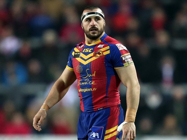 Vincent Duport of Catalans Dragons looks on during the First Utility Super League match between St Helens and Catalans Dragons at Langtree Park on February 6, 2015