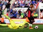 Callum Wilson of AFC Bournemouth beats Darren Randolph of Birmingham City to score his side's second goal during the Sky Bet Championship match between AFC Bournemouth and Birmingham City at Goldsands Stadium on April 6, 2015