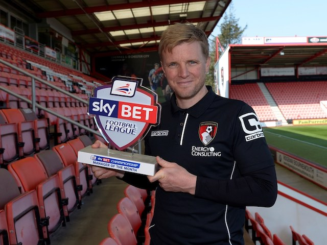 Bournemouth boss Eddie Howe poses with his Manager of the Month award for March 2015