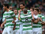 Virgil Van Dijk of Celtic celebrates scoring a goal with his team mates during the William Hill Scottish Cup Semi Final match between Inverness Caledonian Thistle and Celtic at Hamden Park on April 19, 2015