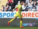 Nacer Chadli of Spurs celebrates scoring the opening goal during the Barclays Premier League match