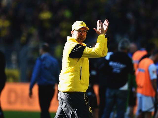 Dortmund's head coach Jurgen Klopp reacts after the German first division Bundesliga football match Borussia Dortmund vs SC Paderborn in Dortmund, western Germany, on April 18, 2015