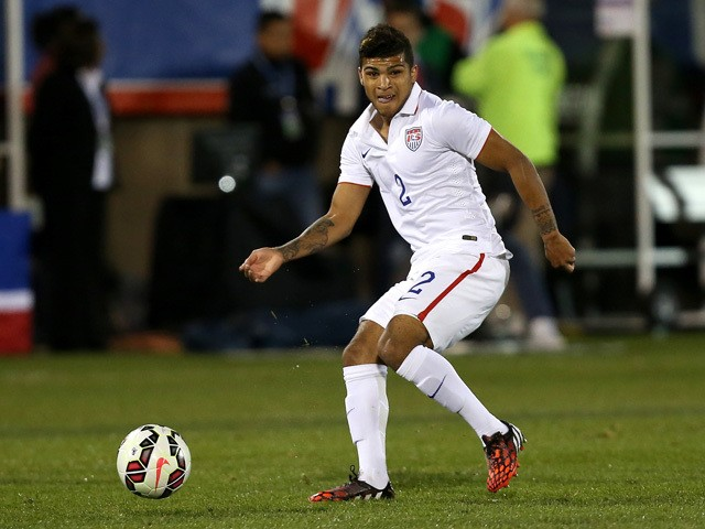 DeAndre Yedlin #2 of the United States makes a pass against Ecuador during an international friendly at Rentschler Field on October 10, 2014