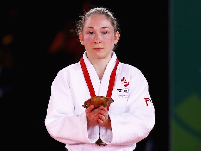 Lisa Kearney of Northern Ireland on the podium for the Women's -52kg Gold medal contest at SECC Precinct during day one of the Glasgow 2014 Commonwealth Games on July 24, 2014
