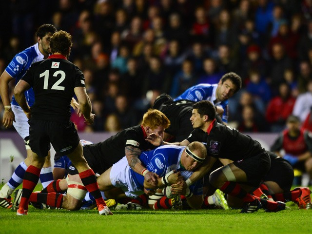Brok Harris of Newport Gwent Dragons scores a try early in the second half during the European Rugby Challenge Cup Semi Final match, between Edinburgh Rugby and Newport Gwent Dragons at Murrayfield Stadium on April 17, 2015