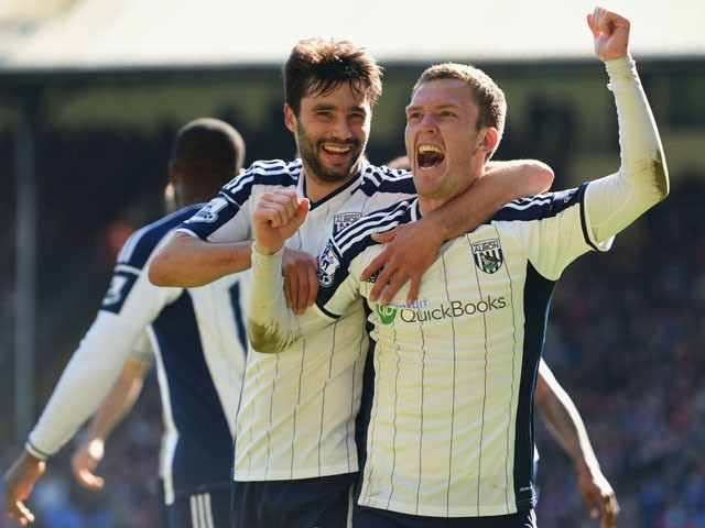 Craig Gardner of West Brom celebrates scoring their second goal with Claudio Yacob of West Brom during the Barclays Premier League match between Crystal Palace and West Bromwich Albion at Selhurst Park on April 18, 2015