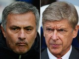 Composite image a comparison has been made between Chelsea Manager Jose Mourinho (L) and Arsenal Manager Arsene Wenger