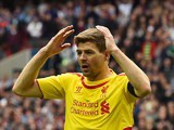 Steven Gerrard reacts to a missed chance during the FA Cup with semi on Aston Villa on April 19, 2015