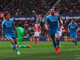 Connor Wickham of Sunderland celebrates scoring the opening goal with Billy Jones of Sunderland during the Barclays Premier League match between Stoke City and Sunderland at Britannia Stadium on April 25, 2015