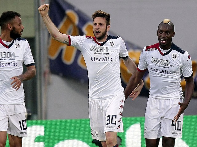 Duje Cop of Cagliari Calcio celebrates after scoring a goal during the Serie A match between ACF Fiorentina and Cagliari Calcio at Stadio Artemio Franchi on April 26, 2015