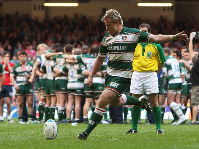 Jordan Crane of Leicester kicks a match winning penalty during the sudden death penalty shoot out to decide the outcome of the Heineken Cup semi final match between Cardiff Blues and Leicester Tigers at the Millennium Stadium on May 3, 2009