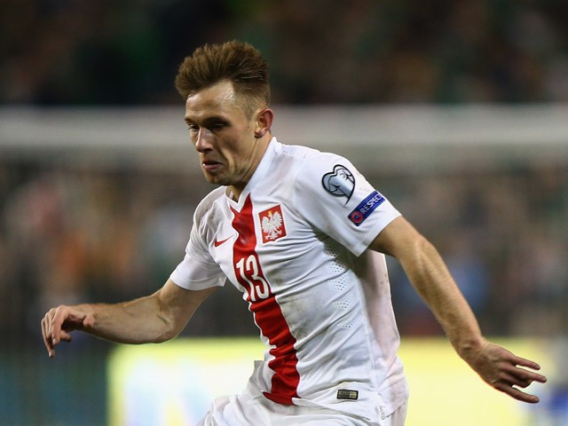 Maciej Rybus of Poland on the ball during the Euro 2016 qualifying football match between Republic of Ireland and Polandat Aviva Stadium on March 29, 2015