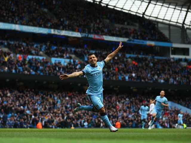 Sergio Aguero of Manchester City celebrates scoring the opening goal during the Barclays Premier League match between Manchester City and Aston Villa at Etihad Stadium on April 25, 2015
