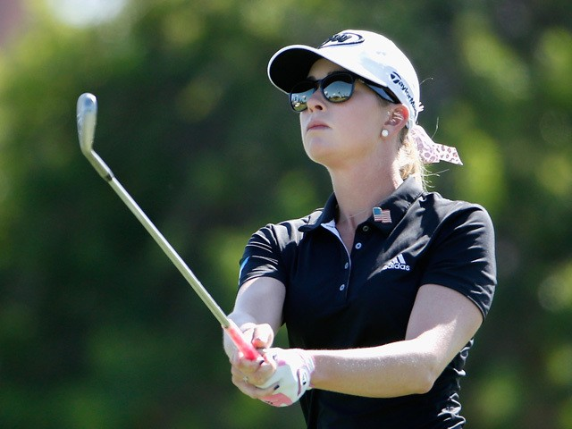 Paula Creamer plays her third shot on the 14th hole during the third round of the LPGA LOTTE Championship Presented By Hershey at Ko Olina Golf Club on April 17, 2015