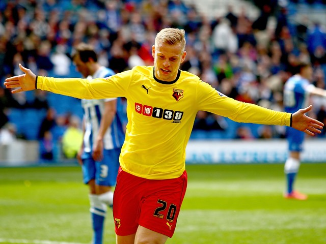 Matej Vydra of Watford celebrates after scoring to make it 2-0 during the Sky Bet Championship match between Brighton & Hove Albion and Watford at Amex Stadium on April 25, 2015
