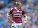 Eorl Crabtree of Huddersfield Giants in action during the Super League match between Huddersfield Giants and Bradford Bulls at Etihad Stadium on May 18, 2014