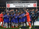 Chelsea players celebrate with the trophy after winning the FA Youth Cup Fina, Second Leg match between Chelsea and Manchester City at Stamford Bridge on April 27, 2015