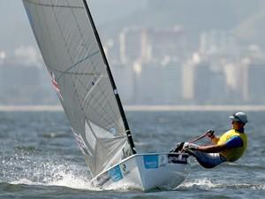 Giles Scott of Great Britain sails on the Pão de Açúcar course during the Mens FINN Class as part of the Aquece Rio International Sailing Regatta - Rio 2016 Sailing Test Even on August 8, 2014