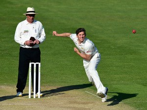 Surrey bowler Zafar Ansari in action during day three of the LV County Championships Division Two match between Glamorgan and Surrey at SWALEC Stadium on April 21, 2015