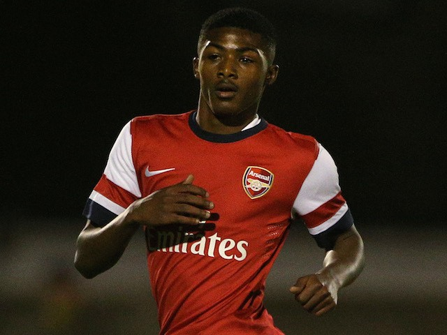 Ainsley Maitland-Niles of Arsenal during the UEFA Youth League match between Arsenal U19 and Borussia Dortmund U19 at Meadow Park on October 23, 2013