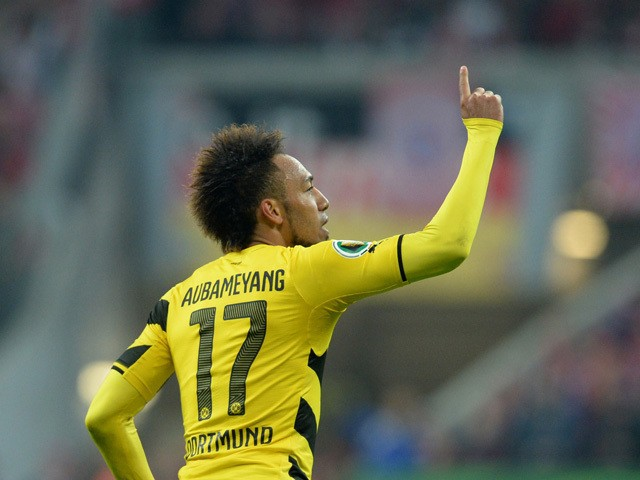 Dortmund's Gabonese midfielder Pierre-Emerick Aubameyang celebrates scoring the equalizer during the German Cup DFB Pokal semi-final football match FC Bayern Munich v Borussia Dortmund in Munich, southern Germany, on April 28, 2015