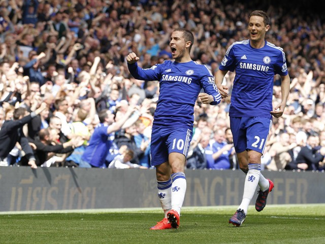 Chelsea's Belgian midfielder Eden Hazard celebrates with Chelsea's Serbian midfielder Nemanja Matic after scoring during the English Premier League football match between Chelsea and Crystal Palace at Stamford Bridge in London on May 3, 2015