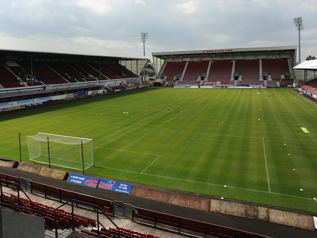 A General view of East End Park before a pre season friendly match between Dunfermline Athletic and Hearts at East End Park on July 13, 2013