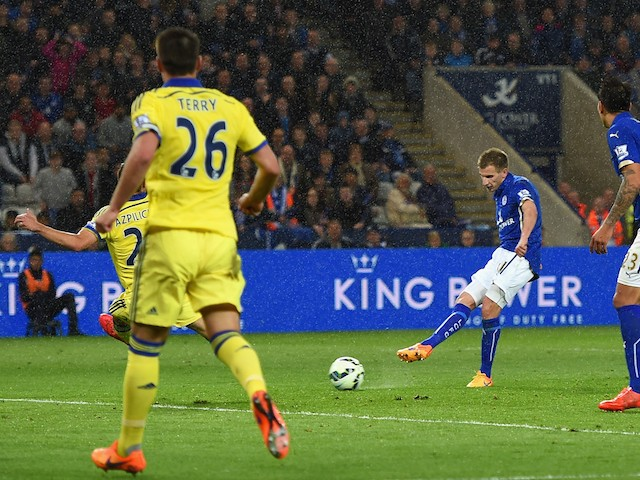 Marc Albrighton of Leicester City scores the opening goal during the Barclays Premier League match between Leicester City and Chelsea at The King Power Stadium on April 29, 2015