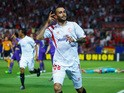 Aleix Vidal of Sevilla celebrates scoring his second goal during the UEFA Europa League Semi Final first leg match between FC Sevilla and ACF Fiorentina at Estadio Ramon Sanchez Pizjuan on May 7, 2015